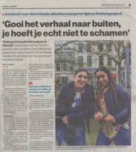 artikel in AD Utrechts Nieuwsblad op 1 april 2017
